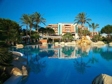 The outdoor pool at Hotel Hipocampo Palace, Majorca, Spain