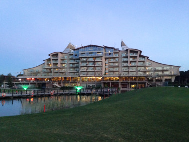 A picture of Sueno Clubhouse at dusk.