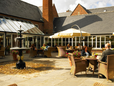 The exterior seating area at Marriott Worsley Park, Manchester