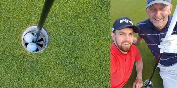 Diese zwei Schotten teilen sich im Matchplay das Loch, da beiden auf der selben Bahn ein Hole-in-One gelingt.
