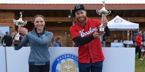 bayerische Long drive Championship Theresa Reil (249 Meter) und Martin Borkmeier (324 Meter) sind Bayerische Meister. (Foto: Münchener GC)