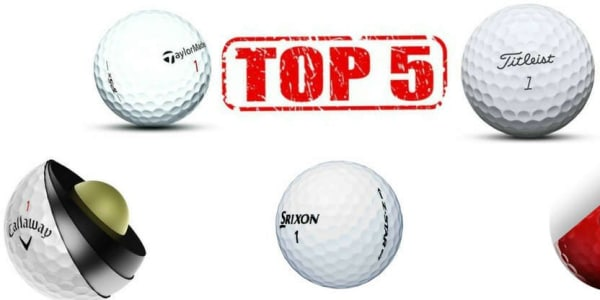 Der Golfball hat eine große Bedeutung im Bag, weswegen wir für Sie die Top 5 zusammengefasst haben. (Foto: Callaway, TaylorMade, Vice Golf, Titleist und Srixon)