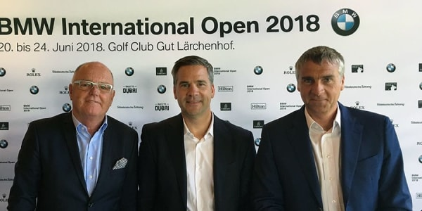 Josef Spyth, Geschäftsführer des GC Gut Lärchenhof, Friedrich Ebel, Leiter Sportmarketing BMW, und Marco Kaussler (v.l.n.r.), Turnierdirektor, bei der ersten Pressekonferenz der BMW International Open 2018. (Foto: Golf Post)