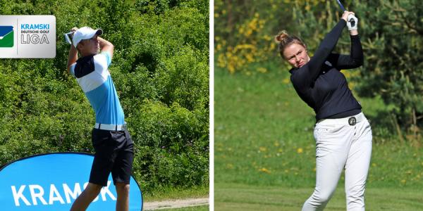 Im Frankfurter GC findet mit dem zweiten Spieltag der Kramski Deutschen Golf Liga ein Doppelspieltag statt. Hier zu sehen sind Maximilian Oelfke vom GC Mannheim Viernheim (li.) und Marie Coors vom Frankfurter GC (re.). (Foto: DGV)