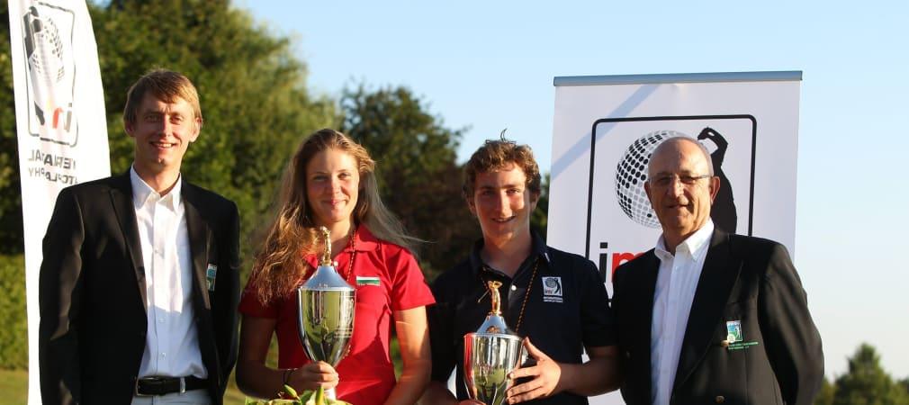 Die Sieger Csilla Lajtai Rózsa und Constantin Unger zusammen mit Turnierdirektor André Kette und Initiator Manfred Kohlhammer