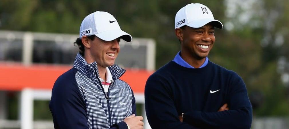 Die Nike-Aushängeschilder Tiger Woods und Rory McIlroy verstehen sich auch privat gut - was ihrem Ausrüster sicher gefallen dürfte. (Foto: Getty)