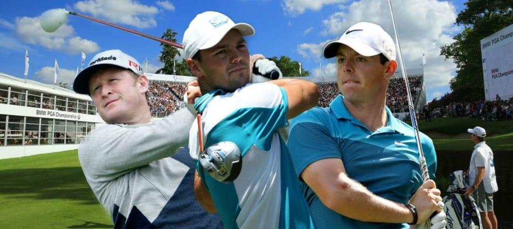 Jamie Donaldson, Martin Kaymer und Rory McIlroy teen bei der BMW PGA Championship in Wentworth gemeinsam auf.
