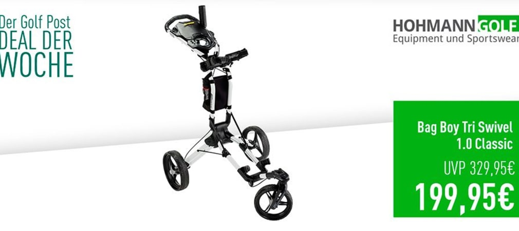 Bag Boy Tri Swivel 1.0 Trolley inklusive Schirmhalter im Deal der Woche. (Foto: Golf Post)