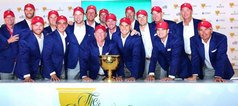 Volle Starbesetzung im Team USA beim Presidents Cup. Bill Haas macht gegen Sangmoon Bae alles klar. (Foto: Getty)