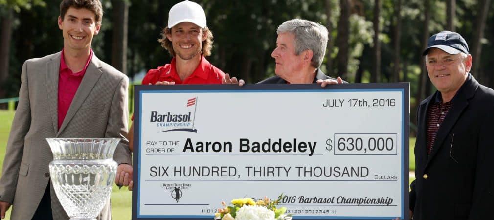 Aaron Baddeley (2. v. l.) konnte sich den Titel bei der Barbasol Championship im Stechen sichern. (Foto: Getty)