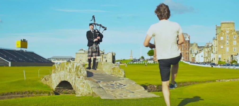 Auch das ist Schottland: Einmal zu Dudelsackmusik auf dem Old Course tanzen. (Foto: Screenshot)