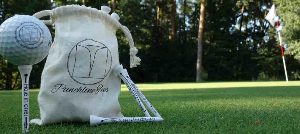 Tees mit lustiger und frecher Botschaft. Punchline Golf bringt Spaß in die Equipmentlandschaft. (Foto: Punchline Golf)