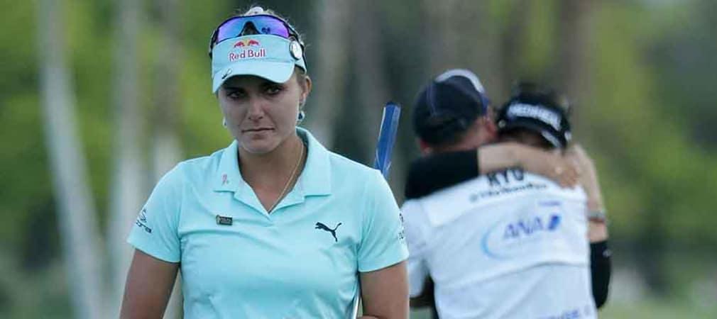 Lexi Thompson verlässt nach der Niederlage im Stechen bei der ANA Inspiration das 18 Grün. (Foto: Getty)