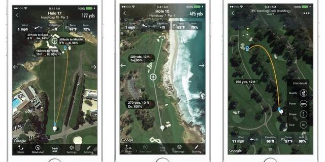Caddy+ Shot Tracking, Caddy+ Custom Club, and Premium Advanced GPS