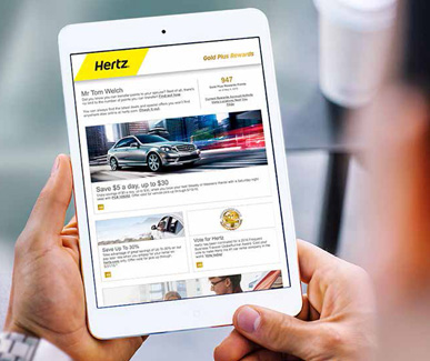 image of the hertz customer loyalty program on an ipad