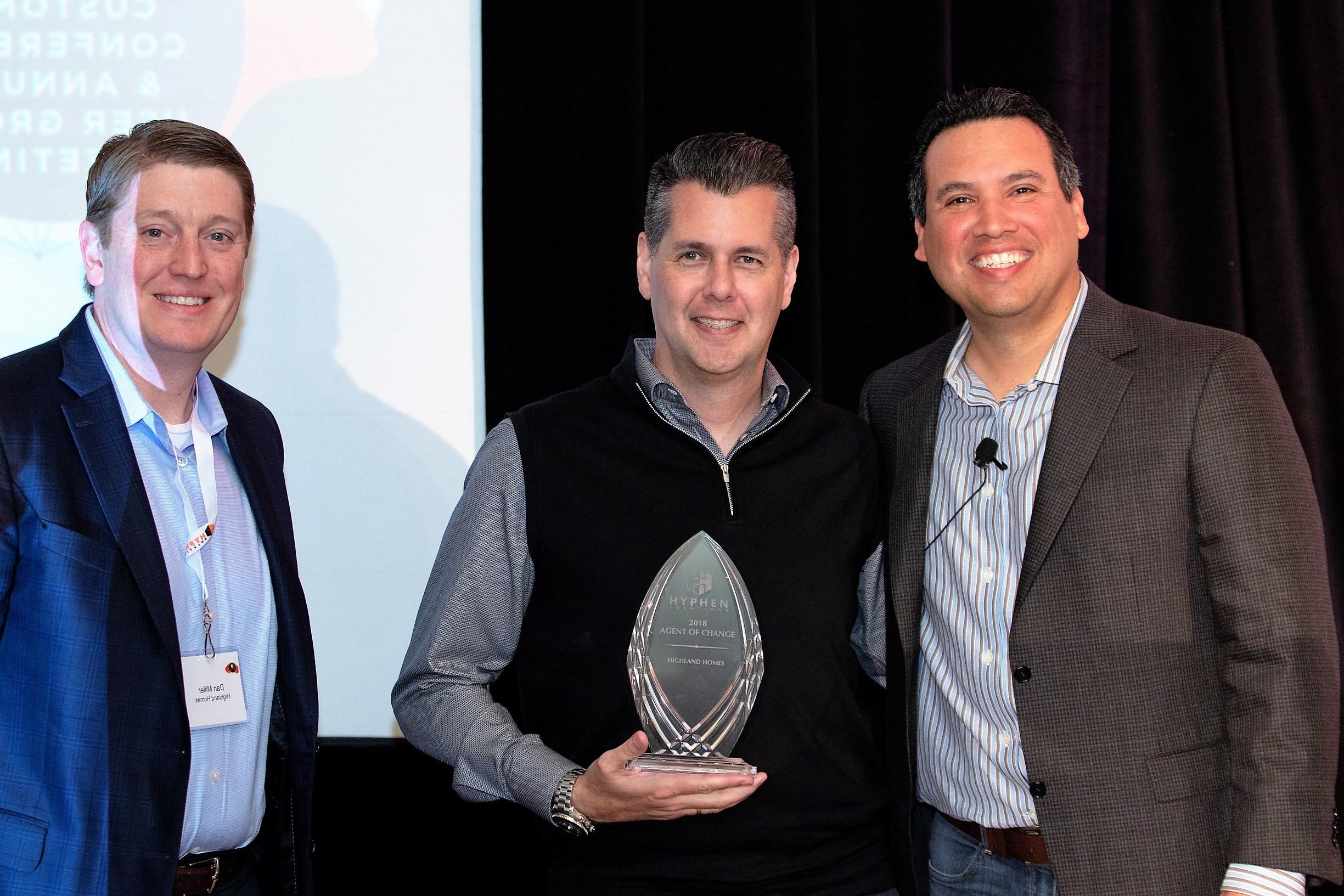 Shown: Hyphen Solutions, CEO, Dr. Felix Vasquez. Highland Homes: CIO, Jeff Dinard, and CFO, Dan Miller.