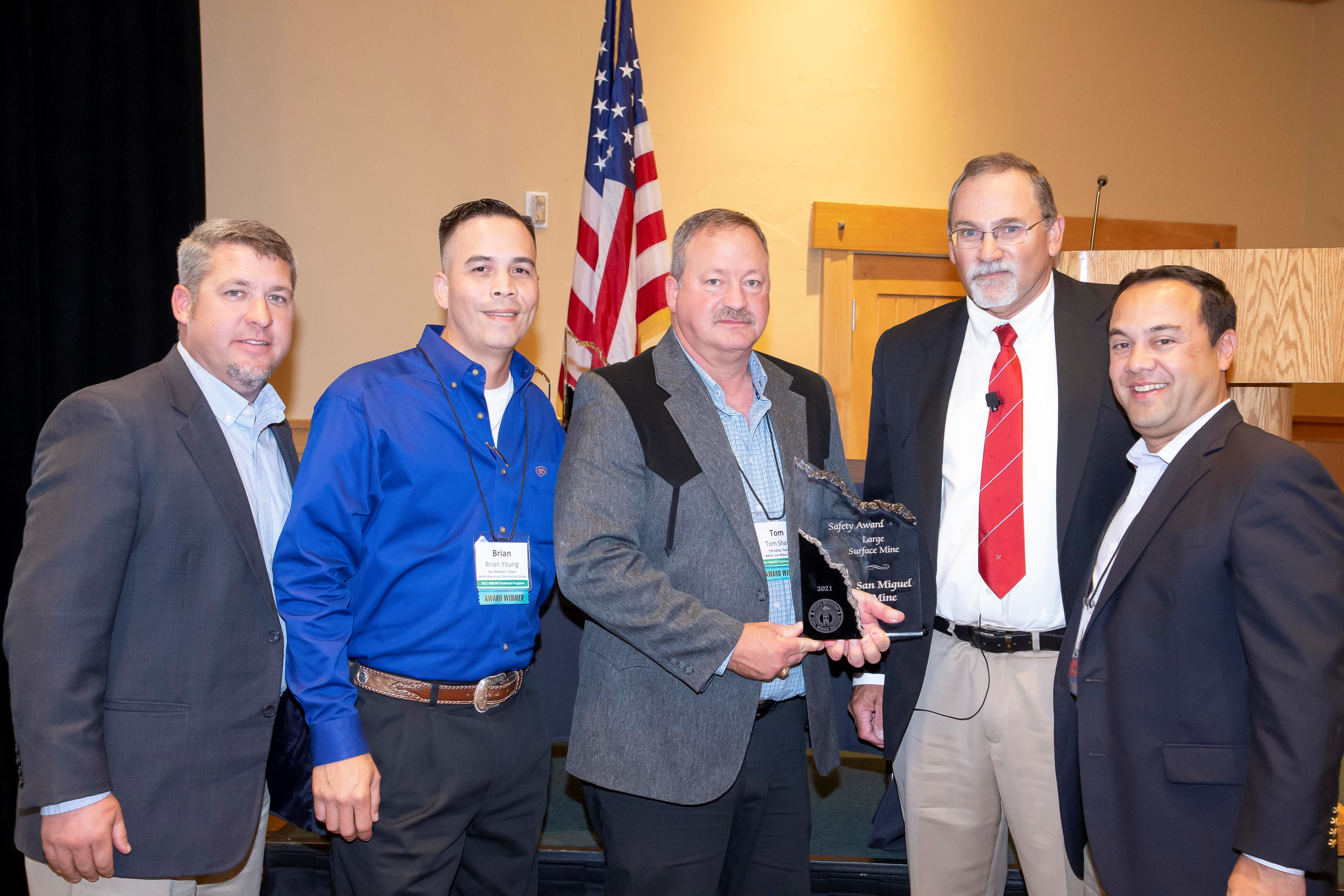 From left to right: Dave Burris, SMEC Fuels Manager; Brian Young, North American Construction Group (NACG) Safety Manager; Tom Shaw, NACG Mine Manger; Wendell Koontz, RMCMI Board of Directors and head of Safety Committee; and Frank Pagura, RMCMI President Elect.