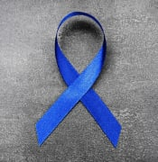 bigstock Blue ribbon on dark background low