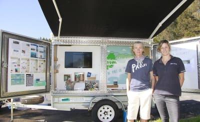 Bernadette Davis and Heidi Thomson with the new environmental education trailer