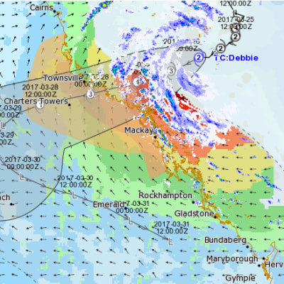 TC Debbie tracking eye BOM March 27 1am