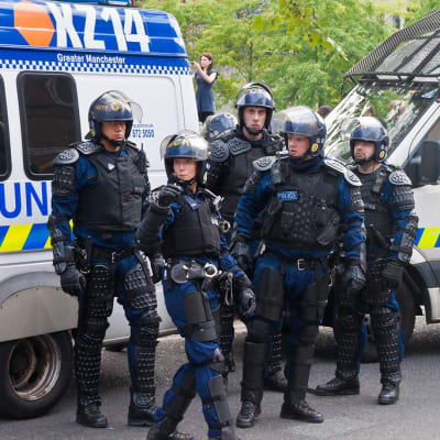Riot Police in Piccadilly Gardens, Manchester - August 9th, 2011(221/365)