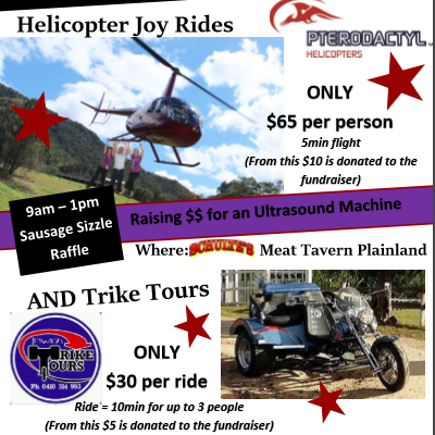 Laidley Hospital Auxiliary Fundraiser Helicopter Joy Rides and Trike Tours