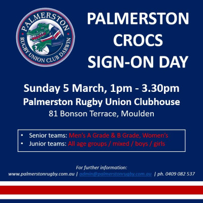 Palmerston Crocs Sign-On Day
