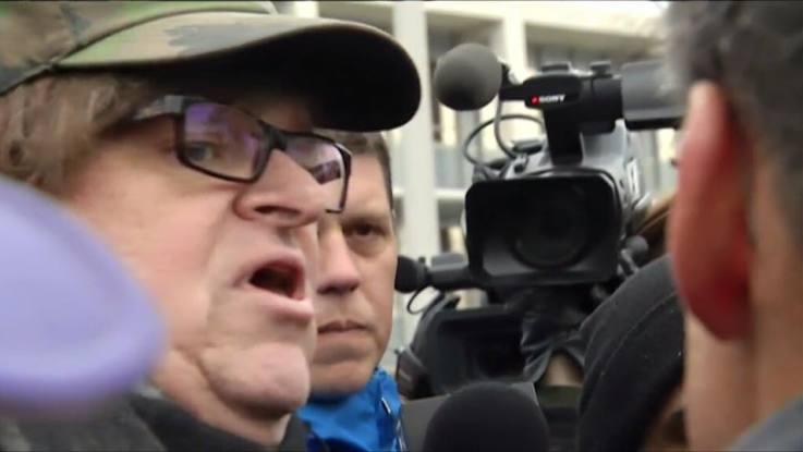 Michael Moore at a #FlintWaterCrisis rally in Flint, MI. Creidt: Michael Moore Facebook Page