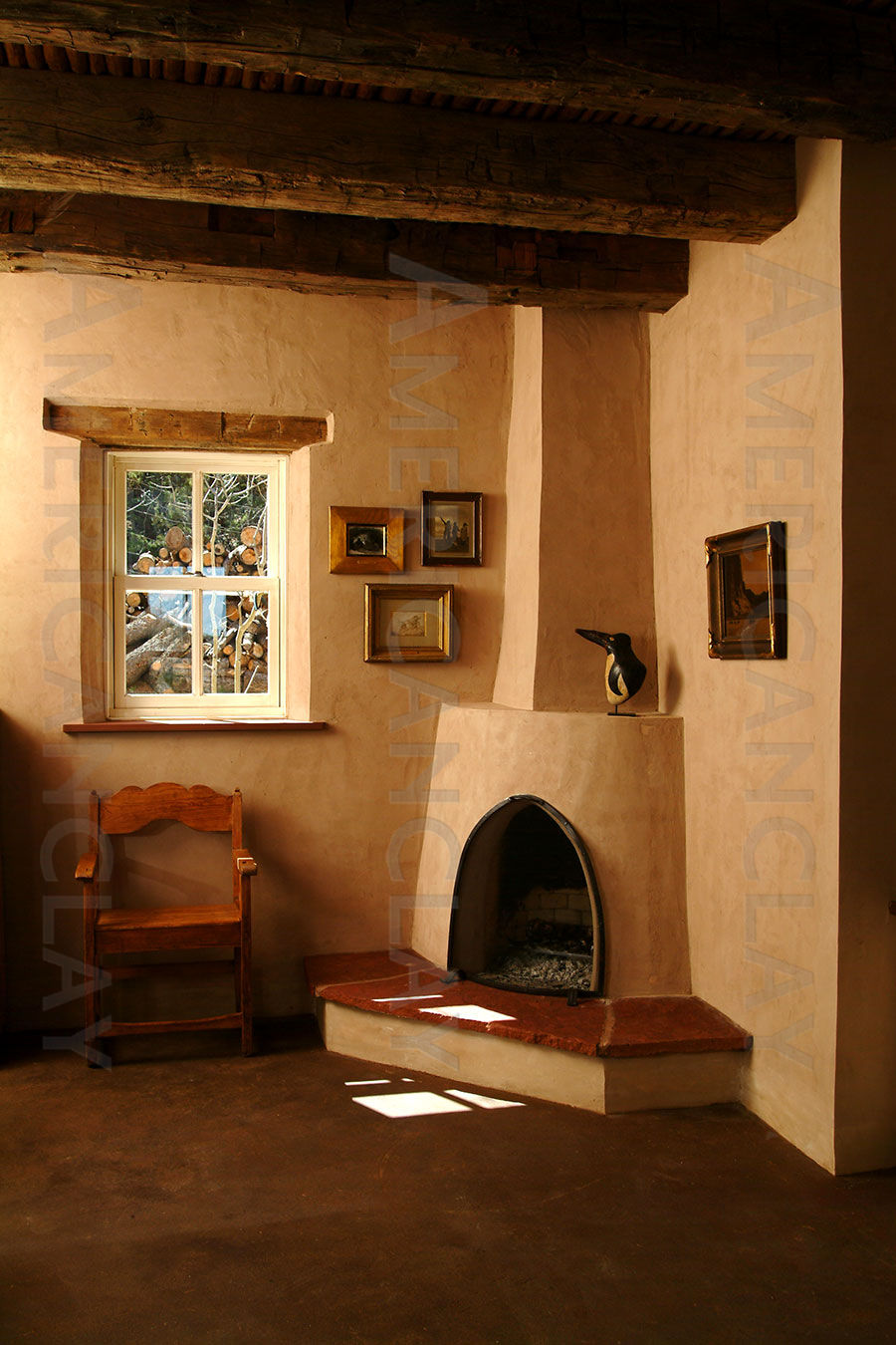 southwesterninspired living room with adobe fireplace an adobe