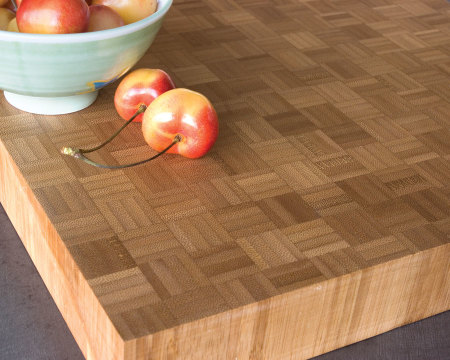 Teragren Unfinished Bamboo Parquet Slabs Caramelized Countertop Detail
