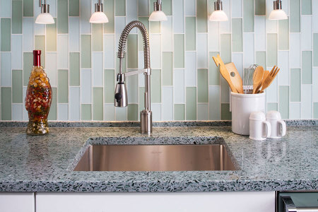 Eco-friendly Countertop Buyers Guide Vetrazzo Countertop Hollywood-Sage Countertop Detail