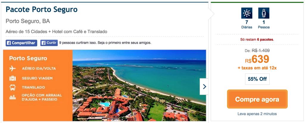 Printscreen do site Hotel Urbano de pacote para Porto Seguro, partindo de 15 cidades