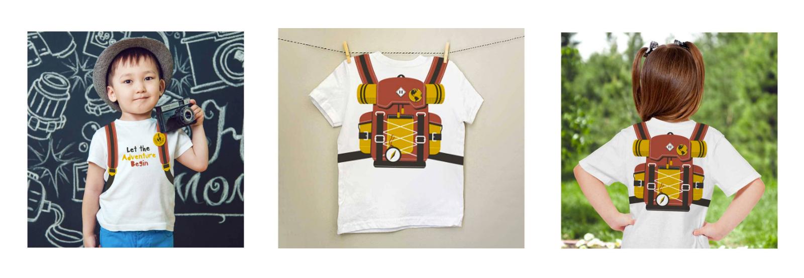 camiseta infantil mini mochileiro