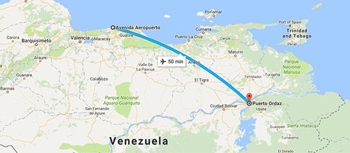Trecho de Caracas até Puerto Ordaz - Voo Rutaca