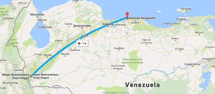 Trecho de Santo Domingo até Caracas - Voo Rutaca