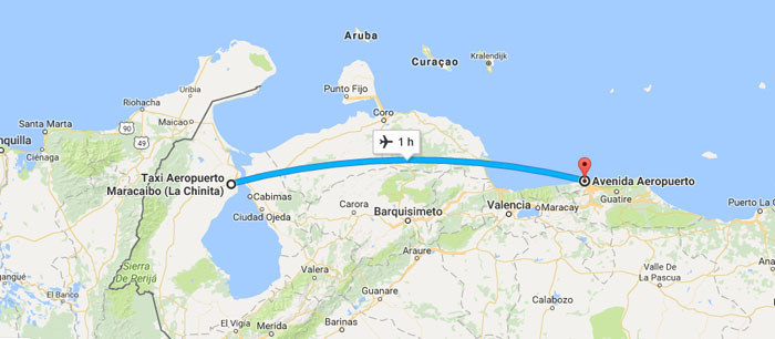 Trecho de Caracas (Maiquetia) até Maracaibo - Via Venezolana