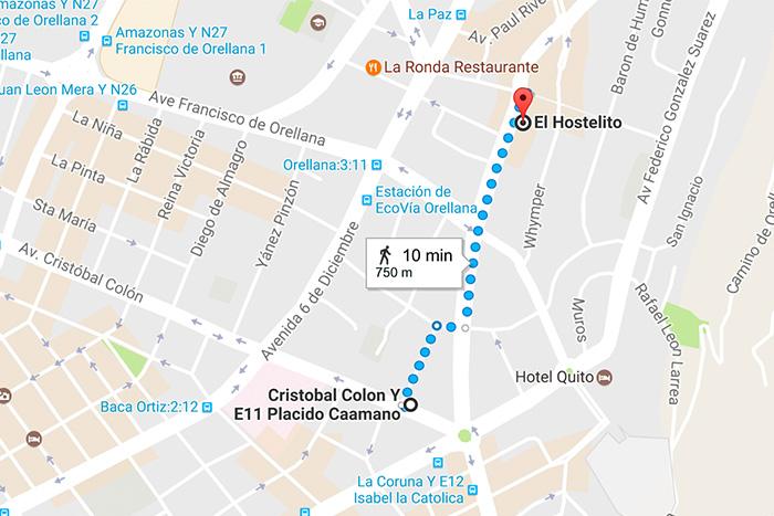 Caminho do hostel até ponto de ônibus