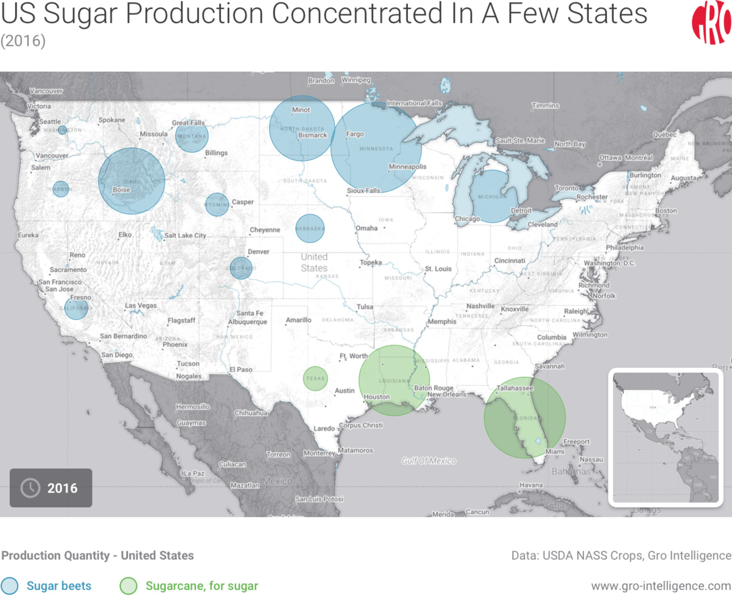 US Sugar Production Concentrated in a Few States