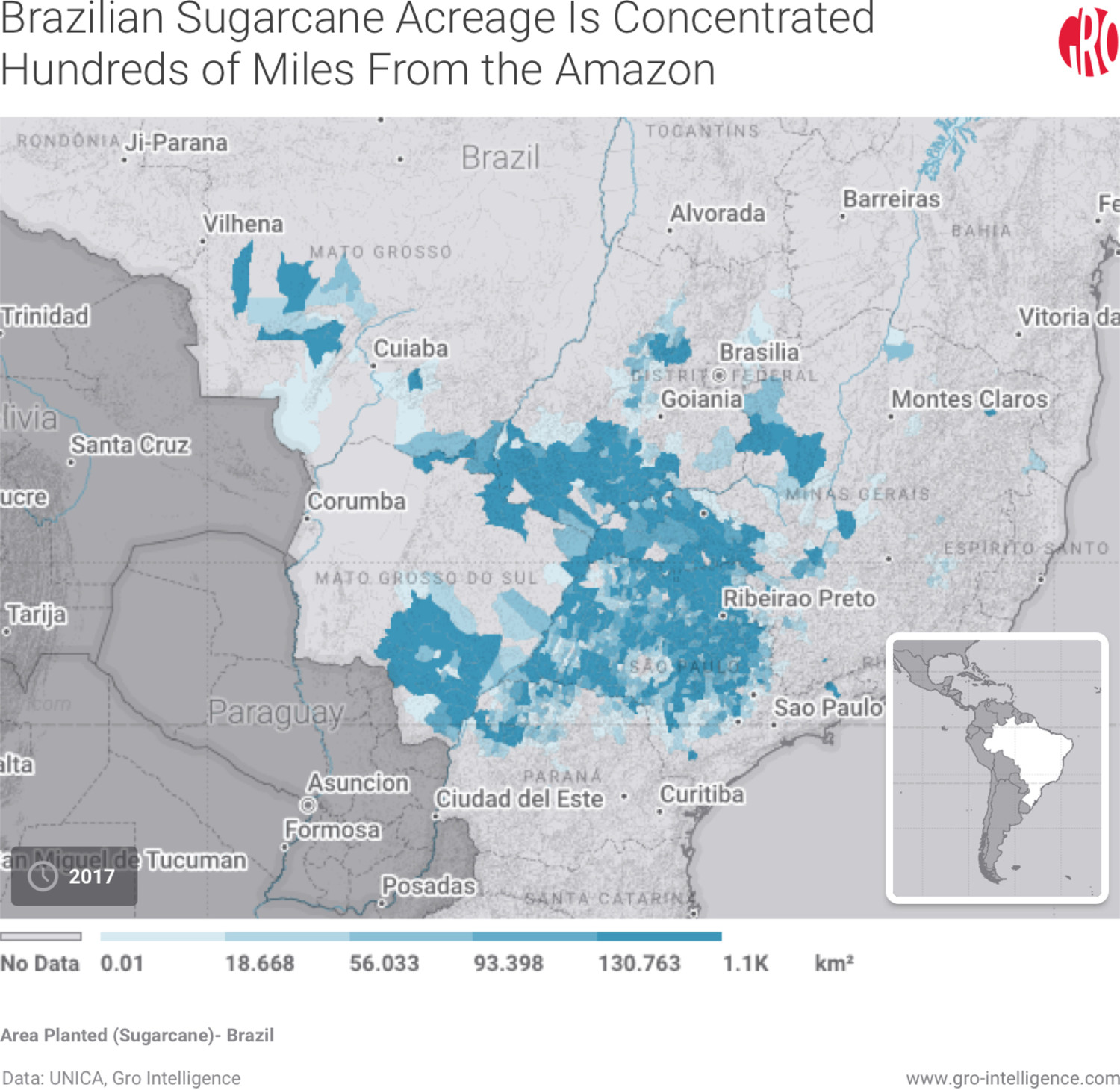 Brazilian Sugarcan Acreage Is Concentrated Hundreds of Miles From the Amazon