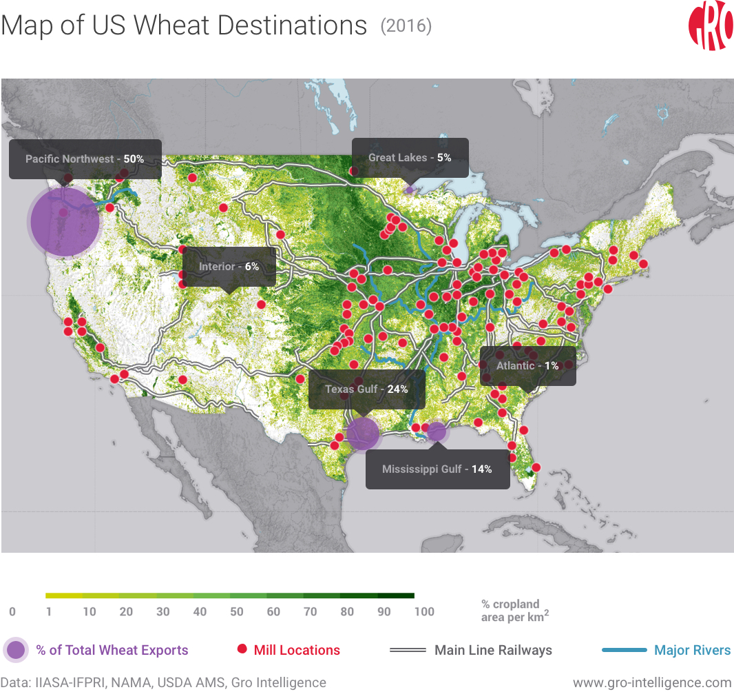 Map Of Us Wheat Destinations
