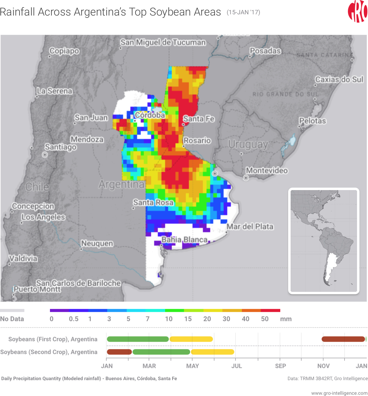 Rainfall Across Argentina's Top Soybean Areas