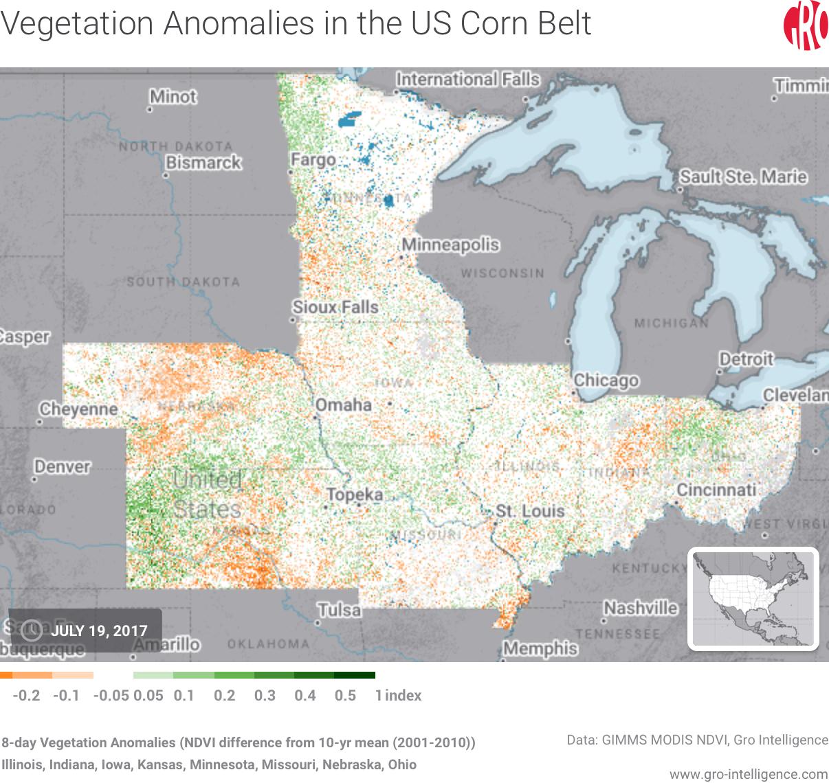 Vegetation Anomalies in the US Corn Belt