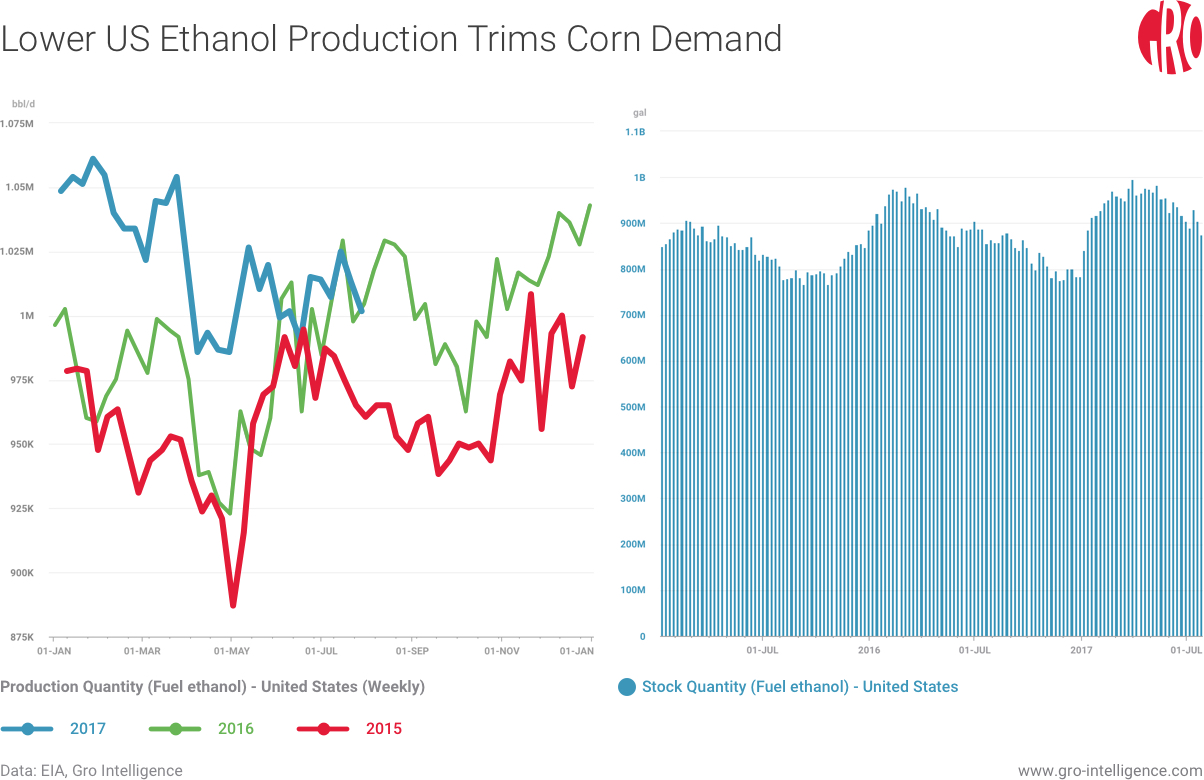 US Ethanol Produciton Trims Corn Demand