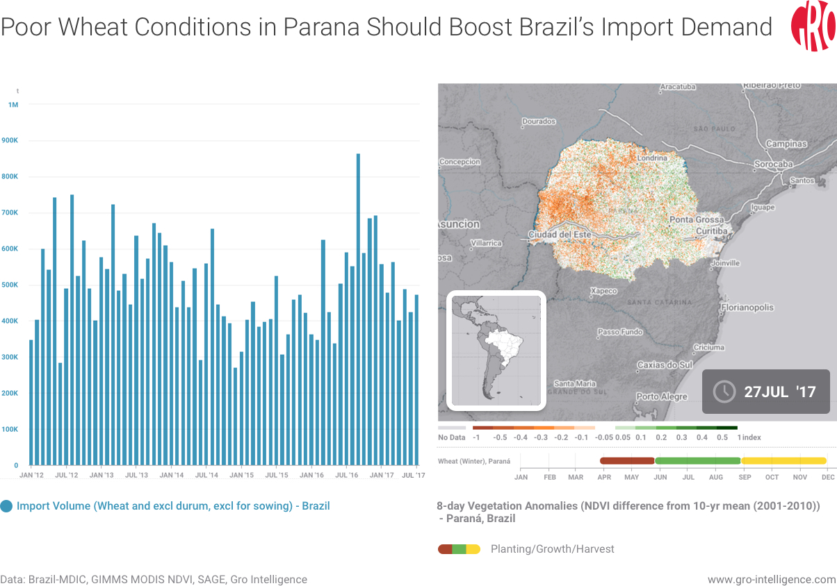 Poor Wheat Conditions in Parana Should Boost Brazil Import Demand