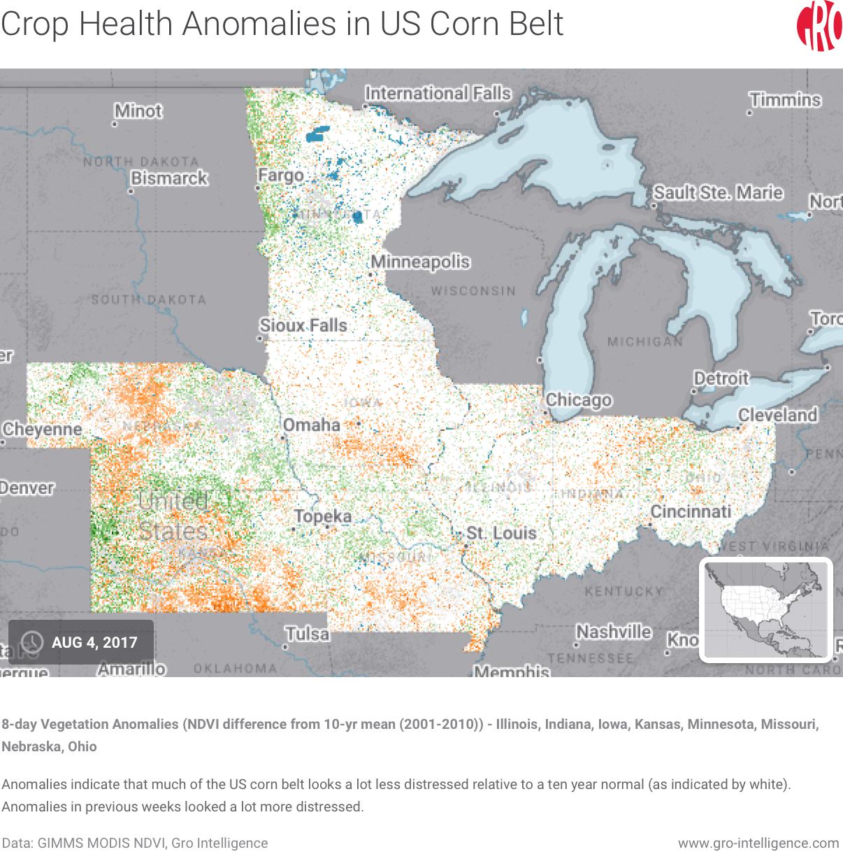 Crop Health Anomalies in US Corn Belt