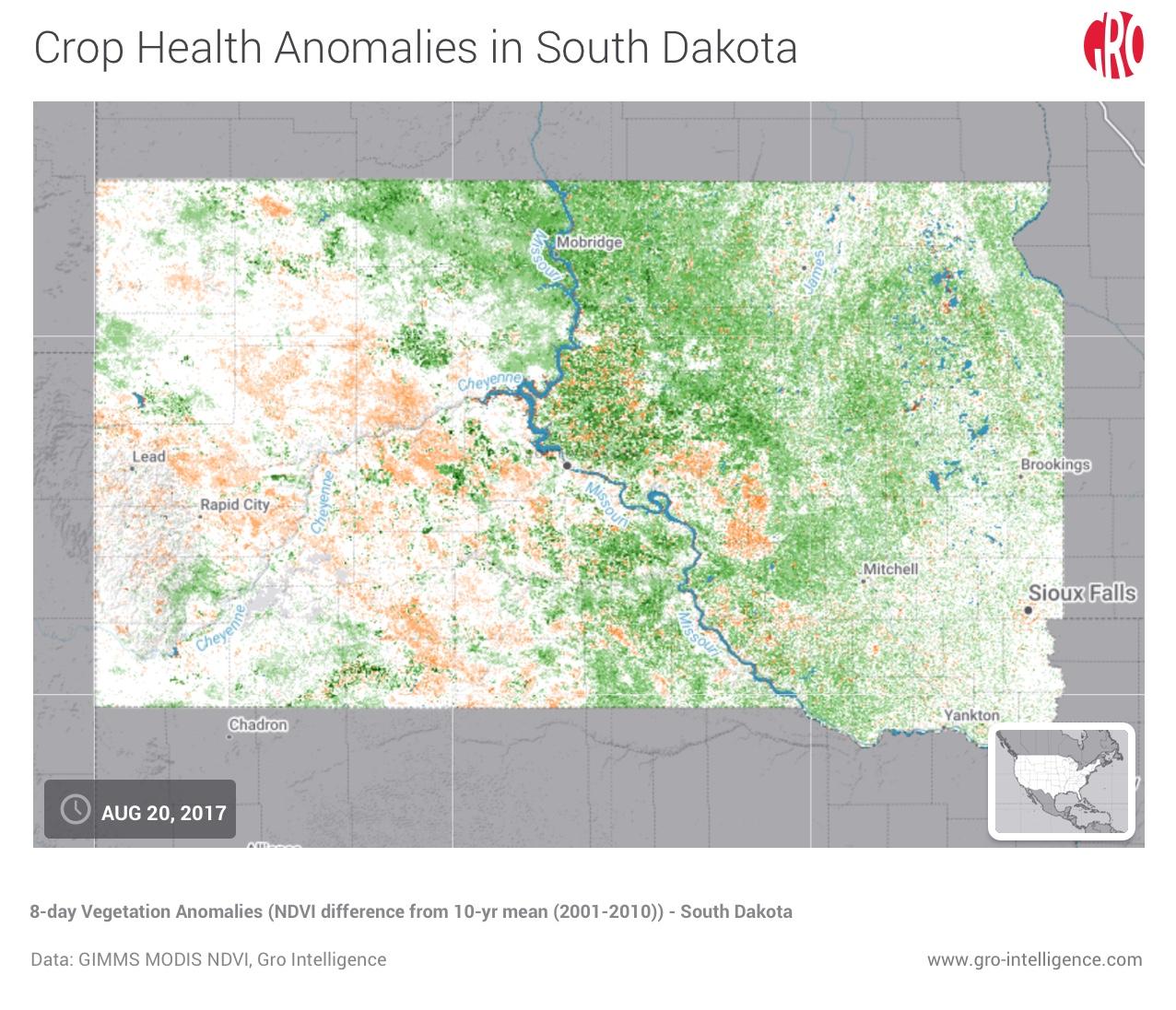 Crop Health Anomalies in South Dakota