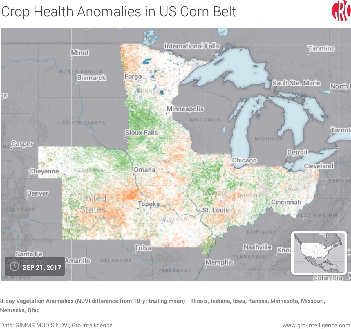 Vegetation Anomalies in US Corn Belt