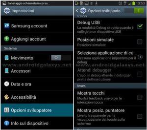 menu impostazioni opzioni sviluppatore attiva debug usb