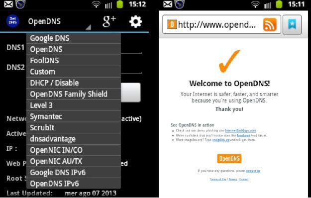 cambiare server DNS su Android con Set DNS