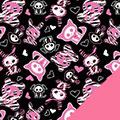 Pink Skel Fleece Fabric